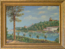 NEVA RIVER ST PETERSBURG RUSSIA LANDSCAPE 1960 SIGNED  OIL PAINTING