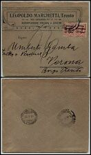 TERRE REDENTE - TRENTINO ALTO ADIGE - Due 10h su 10c(29) - Busta Trento 2.3.1919