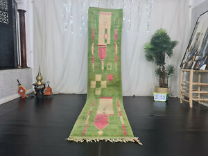 Moroccan Boujad Bohemian Handmade Runner Rug 2'4x11'6 Abstract Green Berber Rug
