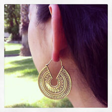 Boho Spiral Brass Gypsy Earrings Tribal Ethnic Festival Jewellery Indian Hoops