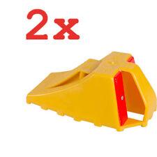 2x CAR STOP unterlegkeil secondo DIN 76 051 CAPSULE PLASTICA GIALLO WHEEL CHOCK