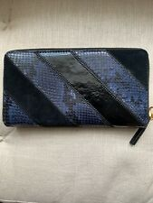 Tory Burch Blue Black leather continental wallet