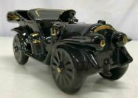 Vintage Ceramic Convertible Car Planter-Black and Gold