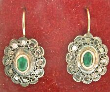 ESTATE ART DECO 14K .50CT DIAMOND .40CT EMERALD EARRING