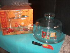 Tabasco 3 Piece Clear Glass Cheese Server With Dome Lid. Usa Made Indiana Glass