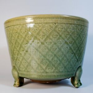 Large Antique Chinese Longquan Celadon Tripod Censer, Ming dynasty,15th 16th C