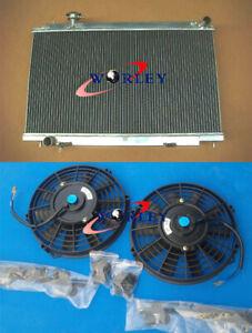 For 2003-2006 Nissan Fairlady 350Z Z33 Manual Aluminum Radiator + 2x FANS 04 05