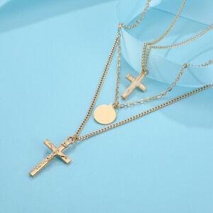 Unisex Gold Colour Necklace Charm Jesus Cross Men Women Multi Layer Chains