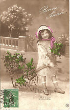 Pretty Little Girl with Holly Wheelbarrow Antique French Photo Xmas Postcard