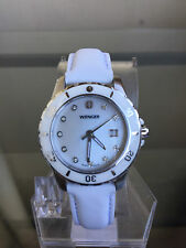 NIB WENGER 70381 Sports Elegance White MOP Leather Ladies Watch SRP $275 etm