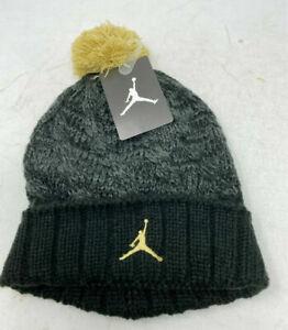 Nike AIR JORDON JUMPMAN Pom Beanie Winter Hat 9A1739-429 Black Gold NWT MSRP $24