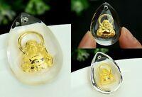 New Style 999 24K Yellow Gold Pendant Man-made Crystal Buddha Pendant