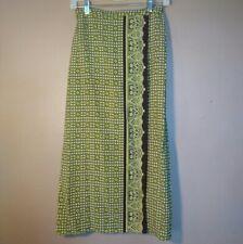 Liz Claiborne Womens Size Small Silk Green Brown Printed Boho Faux Wrap Skirt