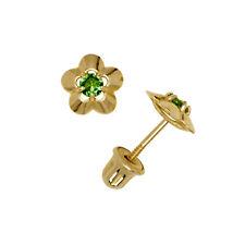 Emerald Gemstone Flower Stud Earrings Child Safe Screw Back 14K Yellow Gold