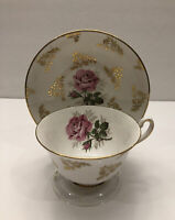 Queen's Royal Tea Cup & Saucer White and Gold Trim  With Pink Roses Beautiful !