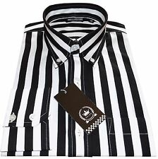 Relco Mens Black & White Candy Stripe Button Down Long Sleeved Shirt Mod Weller