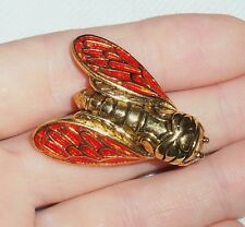 VTG Rene Gouin Provence France Gold Tone Red Enamel Cicada Lucky Bug Brooch Pin