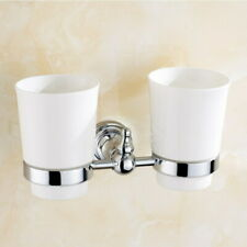 Polished Chrome Toothbrush Holder Wall Mounted Double Toothpaste Ceramic Cup