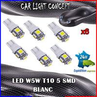 6 x ampoule veilleuse Feu LED W5W T10 BLANC XENON 6500k voiture auto moto 5 smd
