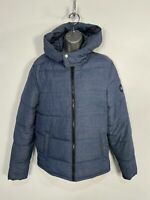 MENS ORIGINAL PENGUIN SMALL BLUE MIX CASUAL PADDED PUFFER HOODED COAT JACKET