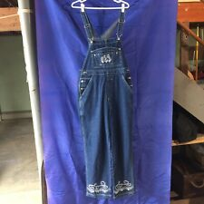 NEW WOMENS BLUE MEDIUM DENIM & COMPANY 100% COTTON OVERALLS WITH ABSTRACT DESIGN