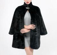 Vogue Women's Winter Warm Mink Fur Coat Jacket Parka Long Sleeve Loose Outwear