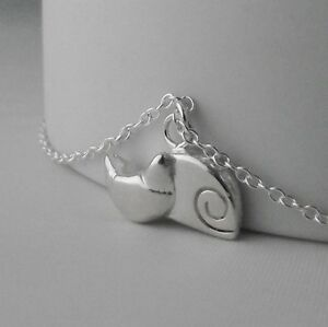 Stunning Handmade Solid Sterling Silver Stylised Sleeping Cat Pendant Necklace