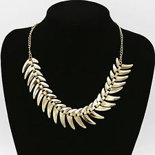 Fashion Gold Fish Bone Statement Bib Chunky Choker Necklace Jewelry Accessories