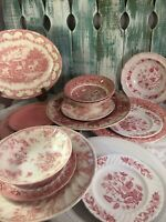 6 Place Sets Vintage Mismatched China Ironstone pink White red Transferware #34