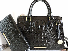 Brahmin Anywhere Convertible Black Embossed Leather Tote Bag+ Bi-fold Wallet NWT