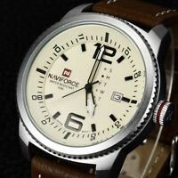 Fashion Mens Sport Watch Army Leather Date Analog Quartz Wristwatches Waterproof