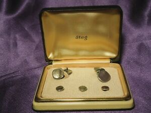 Vintage Stag Abalone & Silver Tone Tuxedo Set Cufflinks