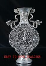 Old Crusted Silver Copper Handwork Carved  Dragon Vase With Qing Dynasty Mark