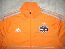 Adidas MLS HOUSTON DYNAMO Logo Soccer Orange Sweat Track Jacket USED Large L