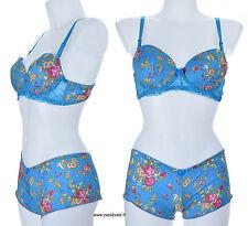 Ensemble lingerie soutien gorge PUSH UP shorty Bleu jaune 80B 36 DOLCE ZAZA2CATS