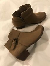 New Uggs Tan Leather Ankle Boots 7 side zipper