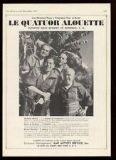 1945 Le Quatuor Alouette of Montreal photo recital trade booking ad