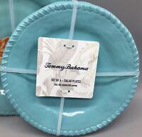 4 Tommy Bahama Heavyweight Melamine Salad Plate Set Aqua Turquoise Nautical Rope