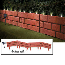 Set of 4 Solar Powered Lighted Faux Red Brick Garden Border Edging