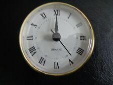 "2-3/4"" (70mm) QUARTZ CLOCK FIT-UP/Insert, Roman Numeral, White Face, Gold Trim"