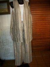 Tailleur pantalon veste sans manche 100% lin beige rayé weekend MAX MARA 36/38