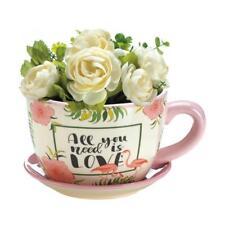 Love Pink Flamingo Tea Cup Planter