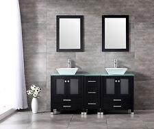 "60"" Double Vanity Bathroom Ceramic Sink Cabinet Combo Set w/ Mirrors & Faucet"