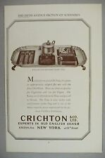 Crichton Old English Silver PRINT AD - 1929 ~~ After-Dinner Cigar Smoker's Tray