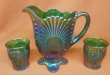 VINTAGE IMPERIAL CARNIVAL GLASS PITCHER BLUE GREEN SHELL PITCHER w/ 2 GLASSES