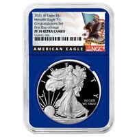 2021-W Proof $1 American Silver Eagle Congratulations Set NGC PF70UC FDI Black L