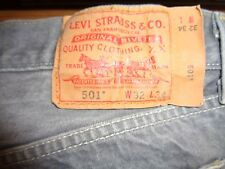 MENS GRAY LEVIS 501 BUTTON FLY JEANS 32X34 (30X30.5)
