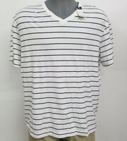 Daniel Cremieux White Navy Striped V Neck S/S Men's Shirt NWT $40 Choose Size