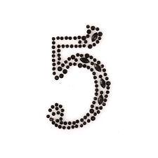 """2x """"5"""" selbstklebend  zum aufkleben Schwarz Strassstein Nummern Edelsteine"""