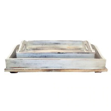 Coastal Nautical Style Hamptons Serving Tray Set of 2 Home Decor Table White was